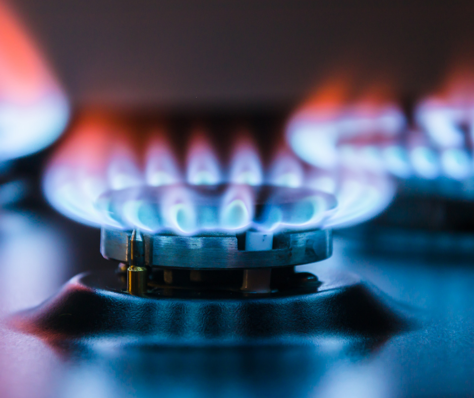 Image of a lit gas hob ring
