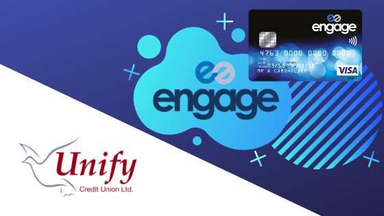 Engage Logo and Image of debit card