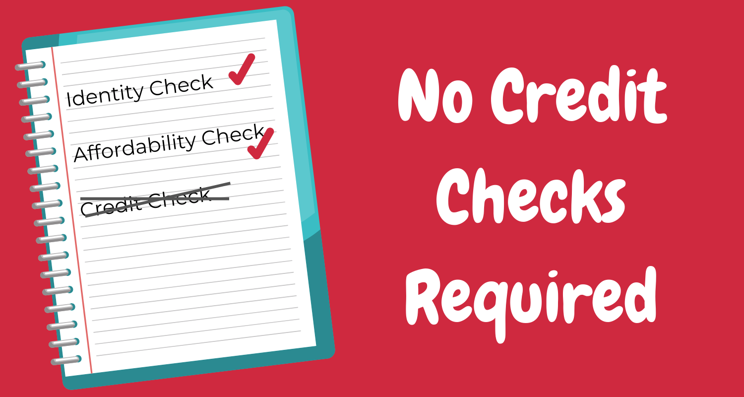 Image of clipboard that reads: identity check, affordability check, no credit check