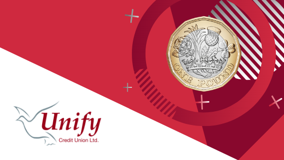 Savings Page Banner - Image of a £1 coin on a geometric background