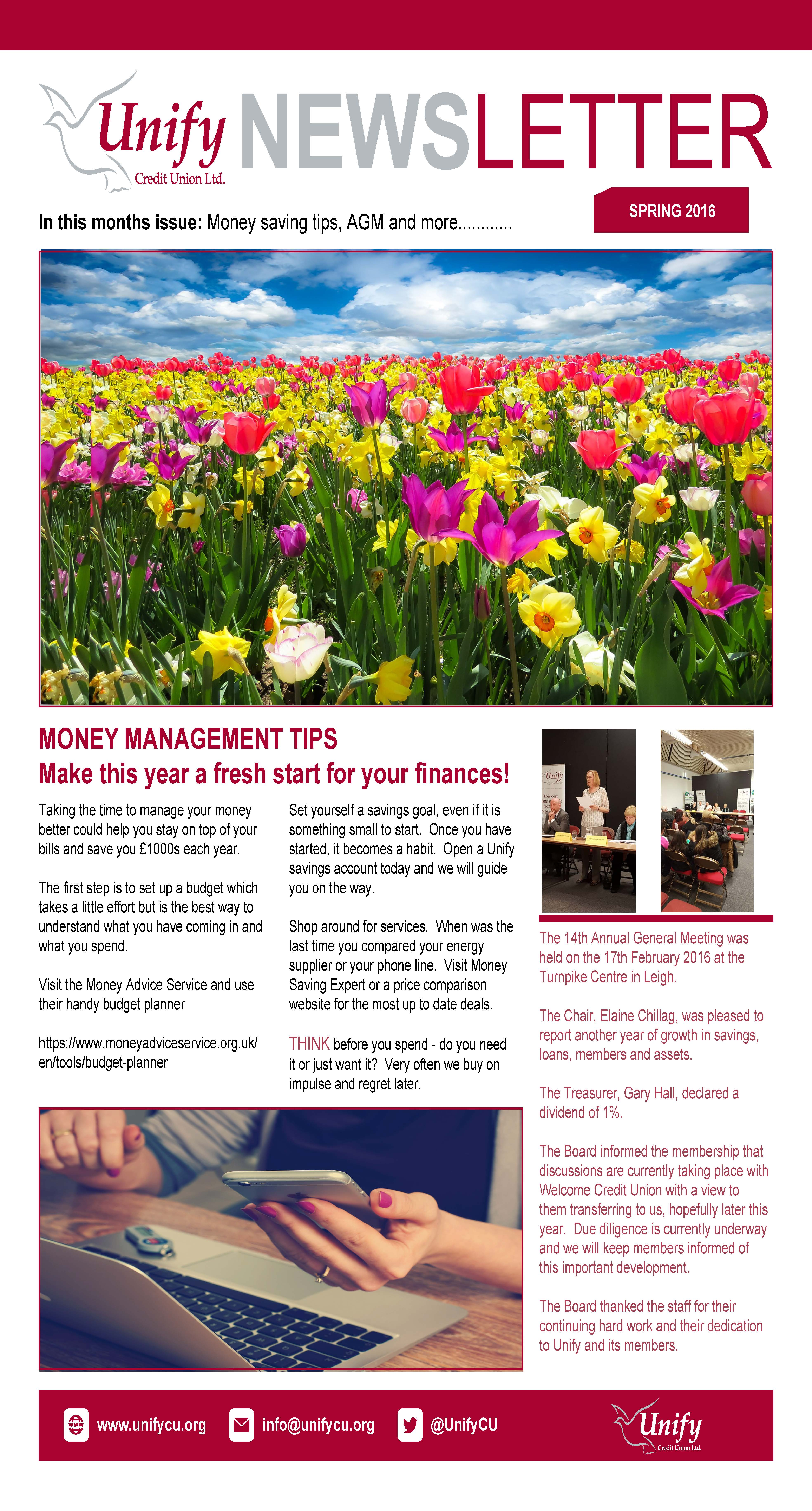 Spring newsletter page 1