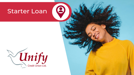 Starter Loan Page Banner - Image of a lady in a yellow jumper tossing her curly hair and smiling